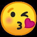 Эмодзи 😘 Надувающий сердце на Google Android