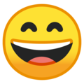 Эмодзи 😄 Улыбающееся лицо с открытым ртом и улыбающимися глазами на Google Android