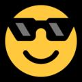 Эмодзи 😎 Лицо в солнцезащитных очках на Windows 10 Fall Creators Update