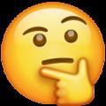 Эмодзи 🤔 Задумчивый в месседжере WhatsApp