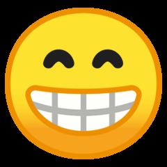 Эмодзи 😁 Сияющее лицо со смеющимися глазами на Google Android