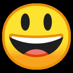 Эмодзи 😃 Улыбающееся лицо с большими глазами и открытым ртом на Google Android