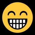 Эмодзи 😁 Сияющее лицо со смеющимися глазами на Windows 10 Fall Creators Update