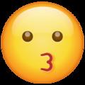 Эмодзи 😗 Целующееся лицо в месседжере WhatsApp