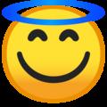 Эмодзи 😇 Улыбающееся лицо с нимбом на Google Android