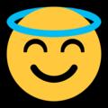 Эмодзи 😇 Улыбающееся лицо с нимбом на Windows 10 Fall Creators Update