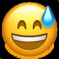 Эмодзи 😅 Улыбающееся лицо в холодном поту с открытым ртом на Apple iOS