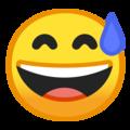 Эмодзи 😅 Улыбающееся лицо в холодном поту с открытым ртом на Google Android