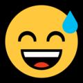 Эмодзи 😅 Улыбающееся лицо в холодном поту с открытым ртом на Windows 10 Fall Creators Update