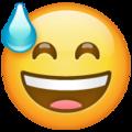 Эмодзи 😅 Улыбающееся лицо в холодном поту с открытым ртом в месседжере WhatsApp