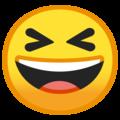 Эмодзи 😆 Улыбающееся лицо с открытым ртом и плотно закрытыми глазами на Google Android