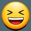 Эмодзи 😆 Улыбающееся лицо с открытым ртом и плотно закрытыми глазами на Samsung
