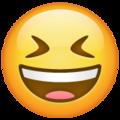 Эмодзи 😆 Улыбающееся лицо с открытым ртом и плотно закрытыми глазами в месседжере WhatsApp