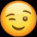 Эмодзи 😉 Подмигивающее лицо в месседжере WhatsApp