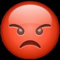 Эмодзи 😡 Красное злое лицо в месседжере WhatsApp